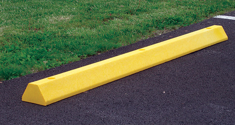 Image of a Durable plastic parking block for parking lots.